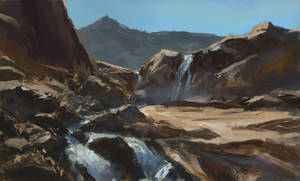 Waterfall and Rocks Sketch by Milkduster