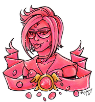 Crystal Portrait Rhodochrosite by nickyflamingo