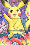 Pikachu and Flowers by nickyflamingo