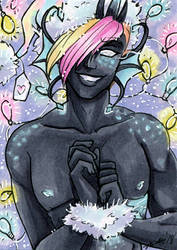 ACEO YCH Gift from Santa Idris by nickyflamingo