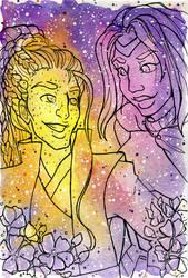 Galaxy Portrait Arlo and Raka by nickyflamingo