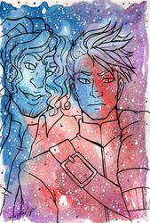 Galaxy Portrait Eno and Dustil by nickyflamingo