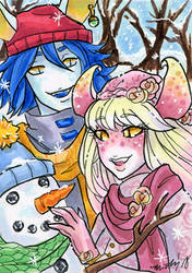 ACEO Let's Build a Snowman Hanzo and Eostre by nickyflamingo