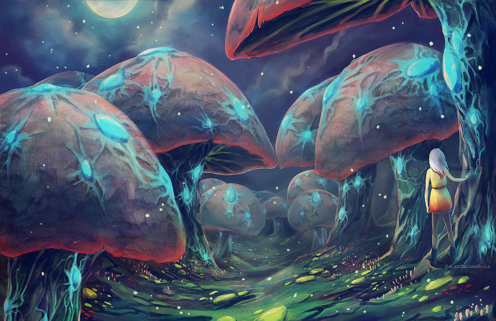 Forest of Glowshrooms by FalseDelusion