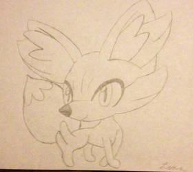 Hand-drawn fennekin by lenaladybug
