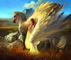 Girl and Pegasus by RHADS