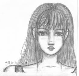 Frontal Girl Sketch by BebleyArt