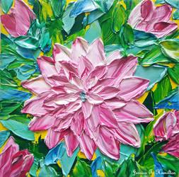 Pink Dahlia Palette Knife Modern Textured Wall Art by JessicaTHamilton