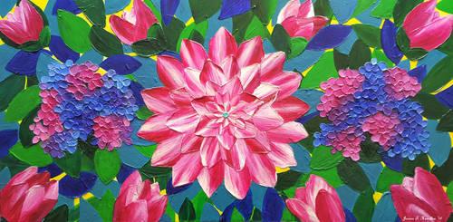 Dahlia and Hydrangeas, Acrylic, Jessica Hamilton by JessicaTHamilton