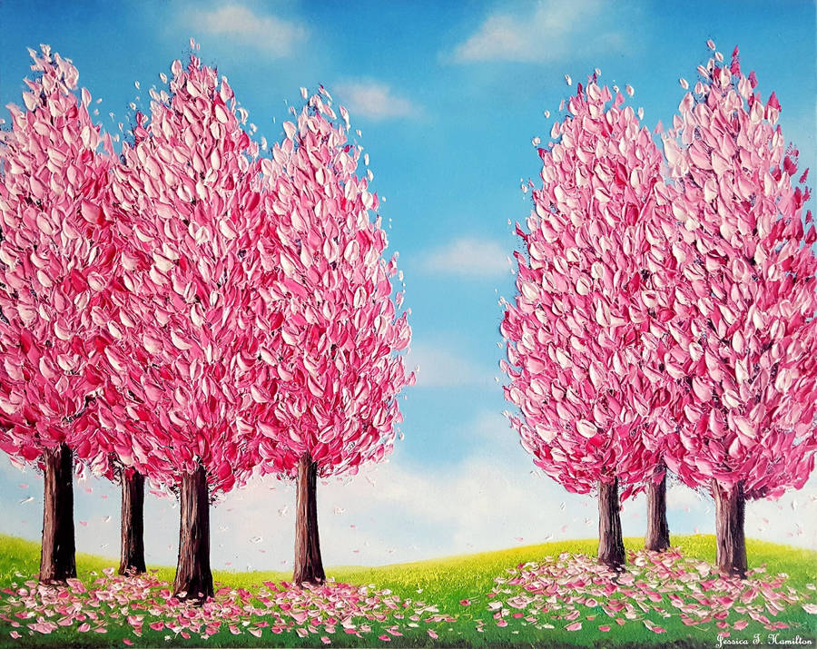 Happy Cherry Trees, Oils, 20x16, Jessica Hamilton by JessicaTHamilton