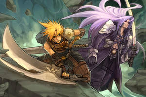 Cloud vs Sephiroth by buraisuko