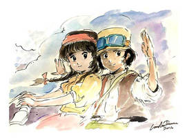 Pazu and Sheeta (Castle in the Sky) by ncillustration