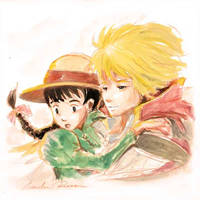 Howl and Sophie (watercolor) by ncillustration