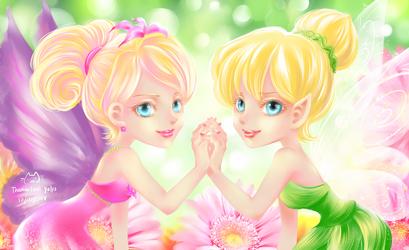 Thumbelina and Tinkerbell by ittolambo