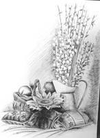 Bazie - ink drawing by gosia-jasklowska