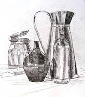 Dzbanek - ink drawing by gosia-jasklowska