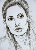 Portrait of Angelina Jolie - ink drawing by gosia-jasklowska