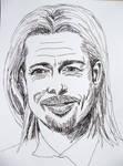 Ink drawing - Brad Pitt by gosia-jasklowska