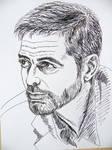 George Cloony - ink drawing by gosia-jasklowska