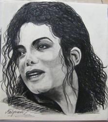 Michael Jackson portrait - carbon drawing by gosia-jasklowska