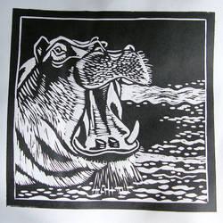 Linoryt Marzec14 Hipopotam - linocut by gosia-jasklowska