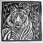 Linocut tiger by gosia-jasklowska