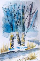 Brzozy - watercolor by gosia-jasklowska