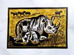 Nosorozec - rinoceros color linocut by gosia-jasklowska