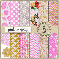 Pink And Gray Scrapbook Paper by craftandfreebie