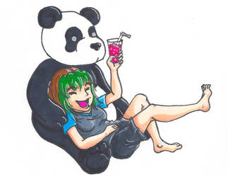 Drinks with a Panda by MetallicLlamaKid