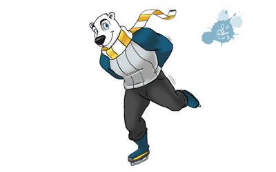 Iceskating Polarbear by Spodness