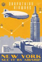 Vintage Art Deco Airship Travel Aviation Poster by PaulRomanMartinez