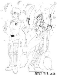 Durmstrang and Beauxbatons Quidditch Lineart by KyloRensMom