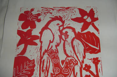 Lino print- RED by Oroess