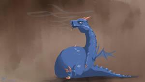 Fat Blue Dragon by Th3w-san