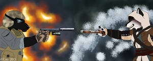 Soldier vs. Pirate by TruSpiritArt