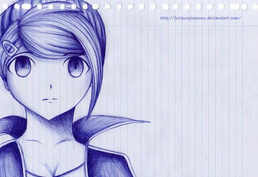 Pen Sketch: Aoi Asahina by FullPurpleMoon