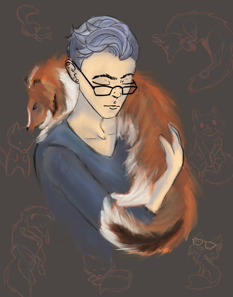 An Artist and Her Dog by TeikoDekinai