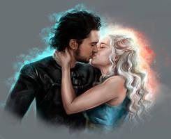 Jon Snow and Daenerys by FoxyAnt