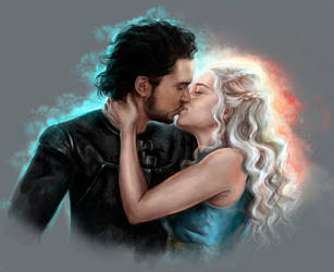 Jon Snow and Daenerys by FoxyAnt
