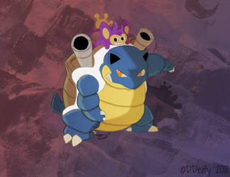 Blastoise and Aipom by DDeify
