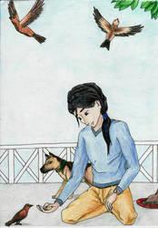 Feeding birds by Mikaua