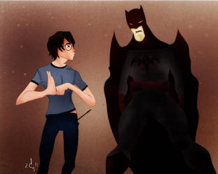 Harry Potter and Batman by jackcrowder