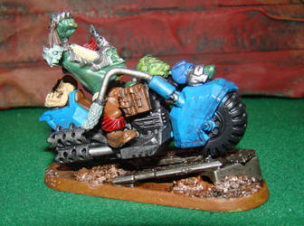 Ork Trophy Taker with a Space Marine Bike by gambit4802
