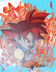 Chibi Super Sayian God Goku (Dragon Ball Super) by SmileTheRider