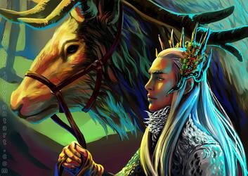 Thranduil and his Elk by Yuuza