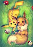 Eevee and Pikachu by Yuuza