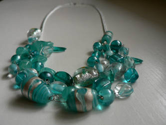 Blue necklace by luthienblack
