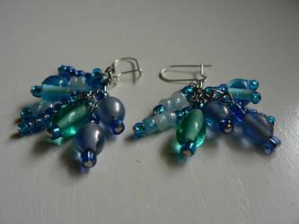 Blue earrings by luthienblack