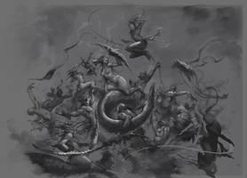 Daemonettes vs Eldars sk by agnidevi